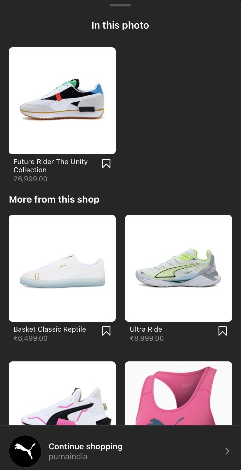 Instagram feature product example