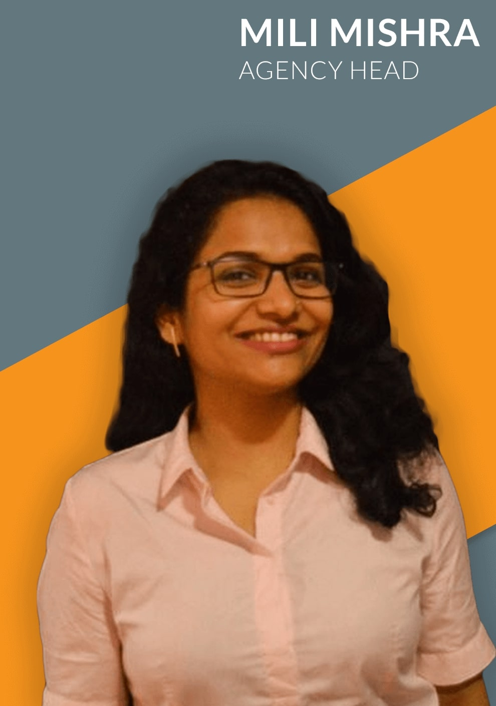 agency head - mili Mishra smiling and representing her team